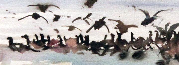 Wieringer Kunstuitleen. Fragment van de aquarel Ganzen van W. Vaarzon Morel